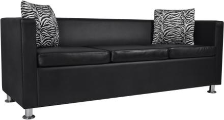 vidaXL Soffa 3-sits konstläder svart
