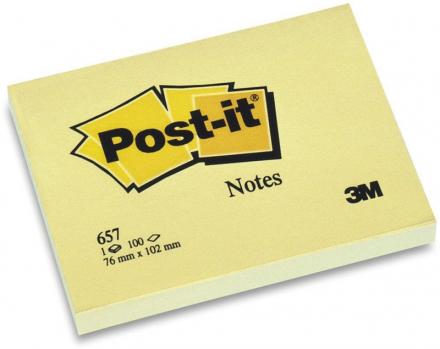 Post-it blok 657 gul 76x102mm 100bl 3M 12blk/pak
