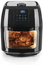 GourmetMaxx 02095 Varmlufts/-frituregryde med grillspyd, Temperaturvalg, Timerfunktion Rustfrit stål, Sort