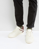 ASOS Trainers In Off White With Burgundy Tape And