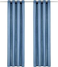 vidaXL Gardiner med metallringar 2 st bomull 140x225 cm blå