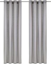 vidaXL Gardiner med metallringar 2 st bomull 140x245 cm grå