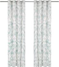vidaXL Gardiner med metallringar 2 st bomull 140x245 cm grön blommor
