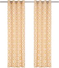 vidaXL Gardiner med metallringar 2 st bomull 140x175 cm gul fyrkanter