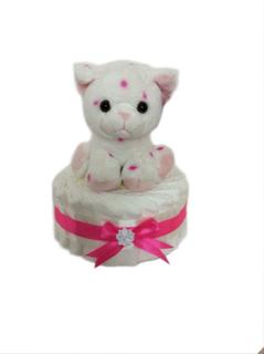 Liten blöjtårta med katt från teddykompaniet