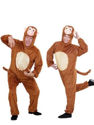 SANCTO INTERNATIONAL Plys sjove abe (hætteklædte buksedragt med maske) - Fruugo
