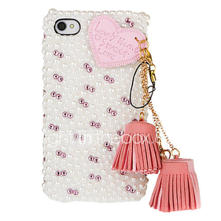 Nahka Heart tupsu Pearl Cover Case for iPhone 4/4S