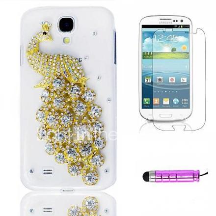 Läpinäkyvä kristalli Peacock Muovi puhelimen kuori HD Film Mini Stylus 3 in1 Samsung Galaxy S4 i9500