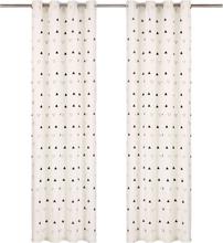 vidaXL Gardiner med metallringar 2 st bomull 140x245 cm svart triangel