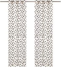 vidaXL Gardiner med metallringar 2 st bomull 140x245 cm svart prickar
