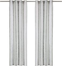 vidaXL Gardiner med metallringar 2 st bomull 140x245 cm grön randig