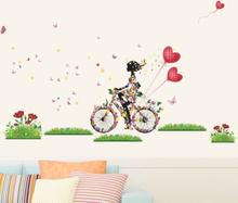 Wallsticker Pige på cykel med blomster
