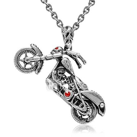 miesten titaani teel kaulakoru punasilmäisyyden Kull moottoripyörä riipus o ketju 19 ''(osta 1 saat 2 kylkiäiset)