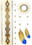 Tatuering guld, svart & blå - aztecmönster, fjädra