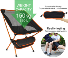 Foldable Camping Chair Fishing BBQ Hiking Ultra Light Chair Outdoor Tools Strong High Load 150kg Beach Picnic Seat Folding Chair