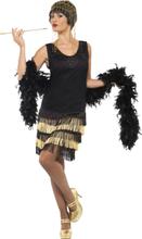 Kostume Charleston sort og forgyldt til kvinder - M