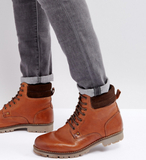 ASOS Wide Fit Lace Up Worker Boots In Tan Leather