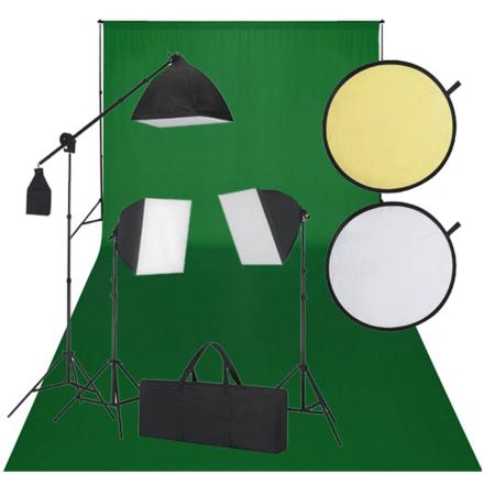 vidaXL Studiosæt m. grøn baggrund 3 dagslyslamper reflektor