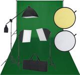 Studioset med grön fotobakgrund 3 lampor och refle