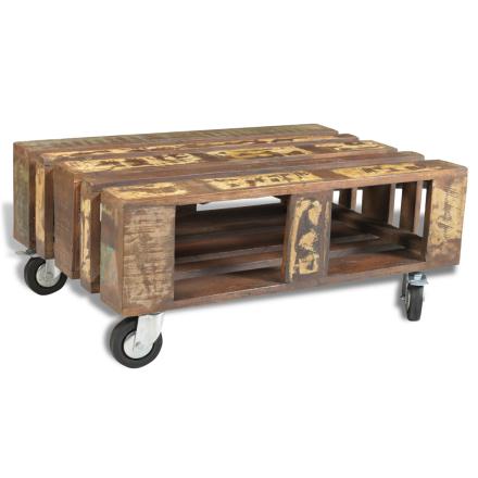 vidaXL Soffbord med 4 hjul 80x56x34cm av återvunnet trä