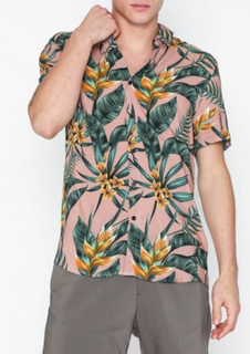 Topman Pink Floral Hawaiian Slim Shirt Skjortor Multicolor