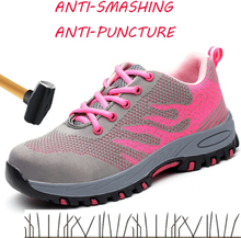 Safety Shoes Women In Work & Safety Shoes Steel Toe Summer Breathable Mesh Industrial & Construction Puncture Proof Work Shoes