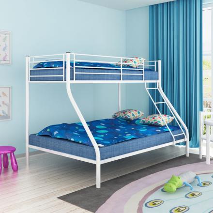 vidaXL Våningssäng för barn 200x140/200x90 cm metall vit
