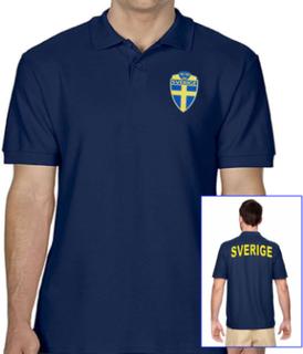 Sverige navy piké tröja - sverige logo tryck. sweden t-shirt
