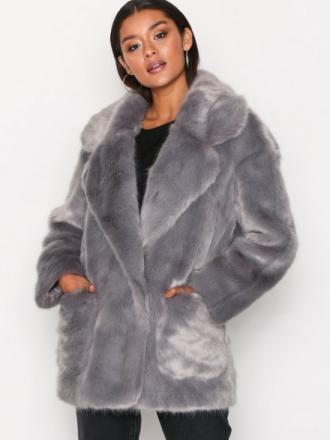Glamorous Andrea Faux Fur Jacket Faux Fur Grey