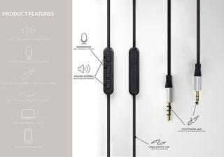 Bose Soundlink ljud ersättningskabel för Bose On-Ear Remote & mic