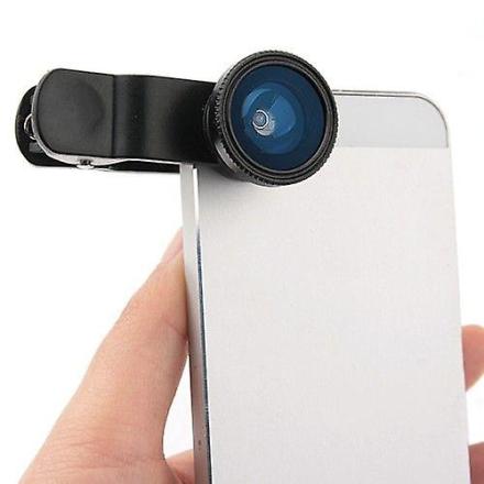 3 i 1 Lieqi klipp linsen Fisheye linse makroen for Smartphone og bord