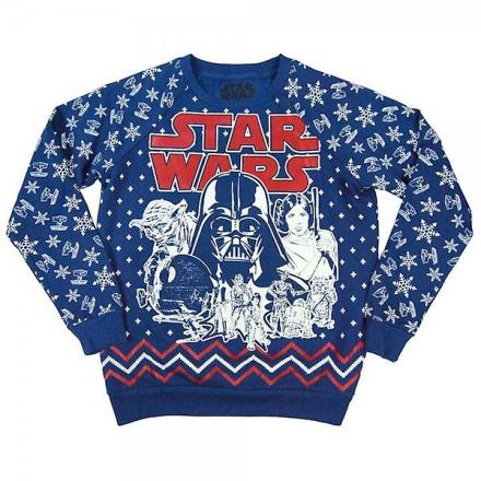 Star Wars dame Retro Star Wars over hele Print jul Sweatshirt blå - Fruugo