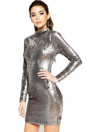 Ex Asos förskönat Polo paljett klänning