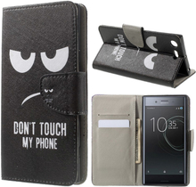 Sony Xperia Xz Premium Mønster PU Lær Flip Etui - Do Not Touch My Phone