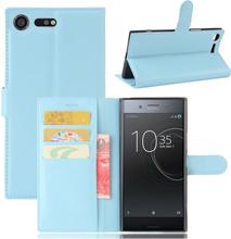 Sony Xperia Xz Premium Litchi Skinn Tekstur PU Lær Flip Etui - Baby Blå
