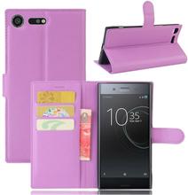 Sony Xperia Xz Premium Litchi Skinn Tekstur PU Lær Flip Etui - Lilla
