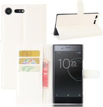 Sony Xperia Xz Premium Litchi Skinn Tekstur PU Lær Flip Etui - Hvit