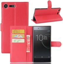 Sony Xperia Xz Premium Litchi Skinn Tekstur PU Lær Flip Etui - Rød