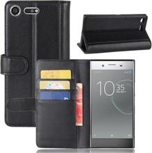 Sony Xperia Xz Premium Ekte Split Lær Flip Etui - Svart
