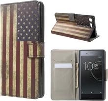 Sony Xperia Xz Premium Mønster PU Lær Flip Etui - Retro Style American Flag