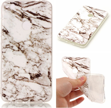 Huawei Honor 8 Lite Marble Imd TPU Myk Etui - Hvit/ Svart