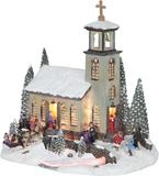 Julby nordisk kyrka fiberoptikby 24cm