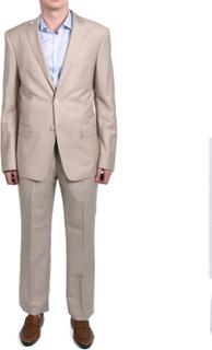 Versace Collection mäns Pindot tvådelade ull kostym ljus Khaki