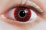 Kontaktlinser med spindelnät i svart och rött för