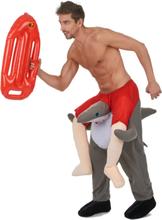 Kostume mand på ryggen af en haj til voksne