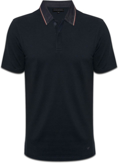 Emporio Armani Emporio Armani EA Mens marinblå Polo Shirt Denim krage