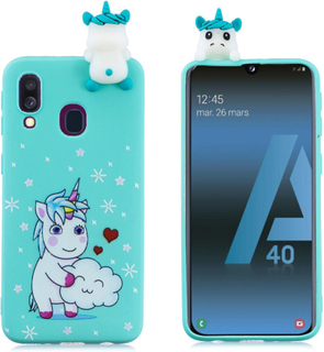 Samsung Galaxy A40 3D Animal Doll mønster case - Unicorn
