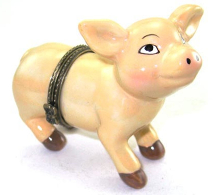 Art Gifts Rosa gris Little Piggy Nasse gångjärn prydnadssak Box phb
