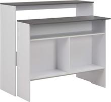 vidaXL Barbord med 2 bordsskivor vit 130x40x120 cm