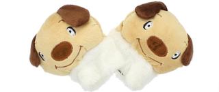 Childrens nyhet brun hund myk ullen dyr vanter
